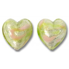 2 Murano Glass Wildflower White Gold Foiled 14mm Hearts