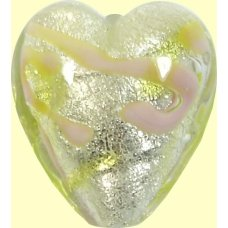 1 Murano Glass Wildflower White Gold Foiled 20mm Heart