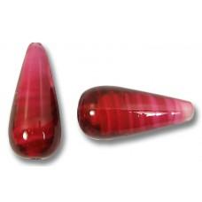 1 Murano Glass Raspberry White Core Drop Bead