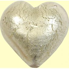 1 Murano Glass Light Pink White Gold Foiled 28mm Heart
