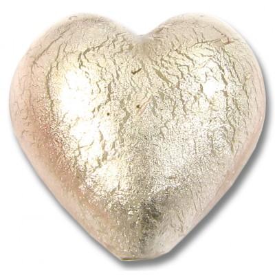 1 Murano Glass Light Pink White Gold Foiled 28mm Heart