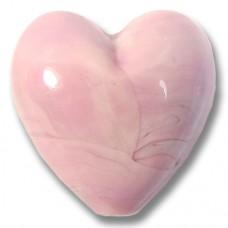 1 Murano Glass Opaque Rose 20mm Heart Bead