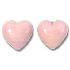 2 Murano Glass Opaque Rose 14mm Heart Beads