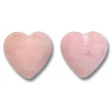 2 Murano Glass Opaque Matte Rose 14mm Heart Beads