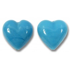 2 Murano Glass Opaque Blue Turquoise 14mm Heart Beads