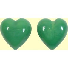 2 Murano Glass Opaque Green Turquoise 14mm Heart Beads