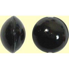 1 Murano Glass Black 10mm Lentil Bead