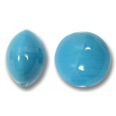 1 Murano Glass Opaque Blue Turquoise 10mm Lentil Bead