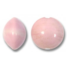 1 Murano Glass Opaque Rose 10mm Lentil Bead