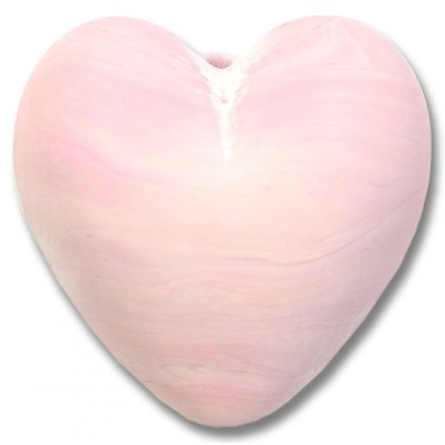 1 Murano Glass Opaque Matte Rose 30mm Heart Bead