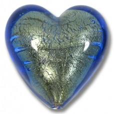 1 Murano Glass Bluino Gold Foiled 26mm Heart Bead