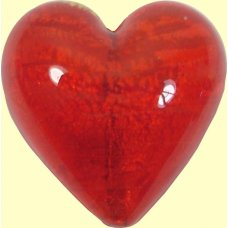 1 Murano Glass Arancio Gold Foiled 26mm Heart Bead