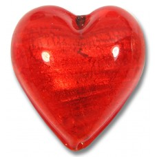1 Murano Glass Arancio Gold Foiled 26mm Heart Bead