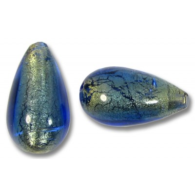 1 Murano Glass Bluino Gold Foiled 25mm Drop Bead