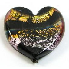 1 Murano Glass Flat Heart - Blues,Topaz