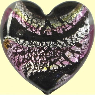 1 Murano Glass Flat Heart - Pink