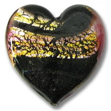 1 Murano Glass Flat Heart - Rose, Topaz