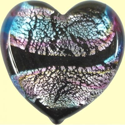 1 Murano Glass Flat Heart - Blue