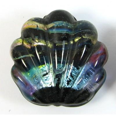 1 Murano Glass Silver foil Blue Shell Bead