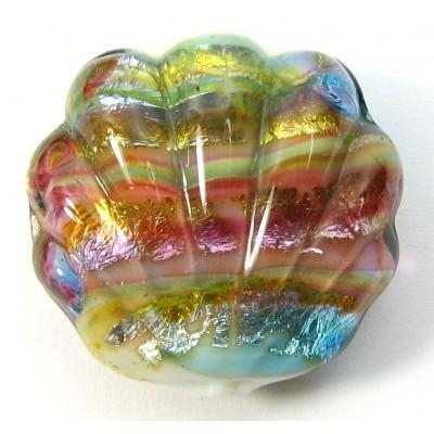 1 Murano Glass Silver foil Light Sapphire Shell Bead