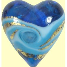 1 Murano Glass Aqua Turquoise Vortex Goldfoiled 20mm Heart Bead