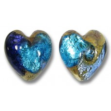 2 Murano Glass Tornado White Goldfoiled 14mm Heart Beads