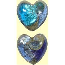 1 Murano Glass Tornado White Goldfoiled 20mm Heart Bead