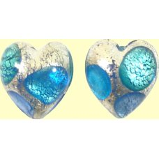 Pair Murano White Goldfoil Extravagant Sapphire Aquamarine 14mm Heart Beads