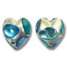 Pair Murano Glass Goldfoil Extravagant Sapphire Aqua Verde 14mm Heart Beads