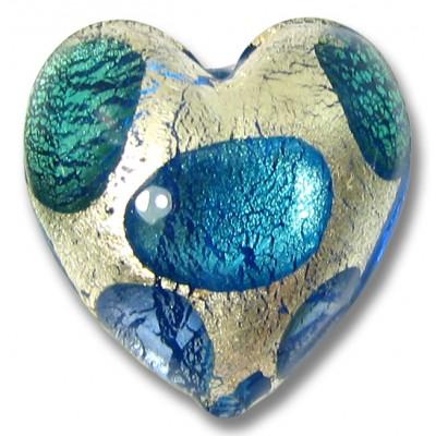 1 Murano Glass Goldfoil Extravagant Sapphire Aqua Verde 20mm Heart Bead