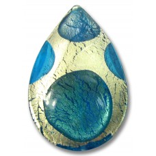 1 Murano Glass Goldfoil Extravagant Sapphire Aqua Verde Large Pear Drop