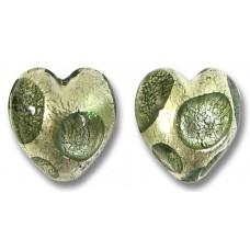 Pair Murano Glass Goldfoil Extravagant Black Diamond 14mm Heart Beads