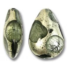 1 Murano Glass Goldfoil Extravagant Black Diamond Small Pear Drop