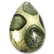 1 Murano Glass Goldfoil Extravagant Black Diamond Large Pear Drop