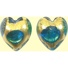 Pair Murano Glass Goldfoil Extravagant Aqua Sapphire Emerald 14mm Heart Beads