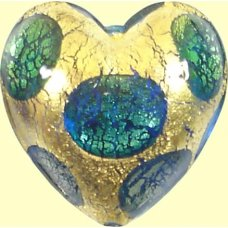 1 Murano Glass Goldfoil Extravagant Aqua Sapphire Emerald 20mm Heart Bead
