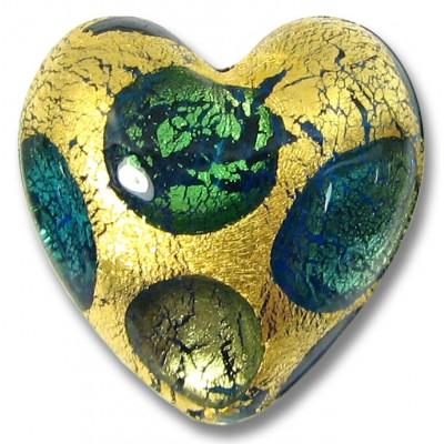 1 Murano Glass Goldfoil Extravagant Aqua Sapphire Emerald 20mm Heart Bead