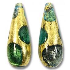 1 Murano Glass Goldfoil Extravagant Aqua Sapphire Emerald Drop