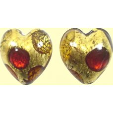 Pair Murano Goldfoil Extravagant Light Dark Ruby and Topaz 14mm Heart Beads