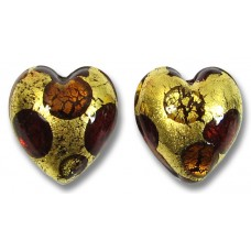 Pair Murano Glass Goldfoil Extravagant Light Dark Ruby and Topaz 14mm Heart Beads