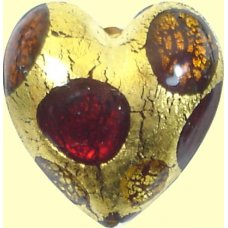 1 Murano Goldfoil Extravagant Light Dark Ruby and Topaz 20mm Heart Bead