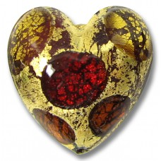 1 Murano Glass Goldfoil Extravagant Light Dark Ruby and Topaz 20mm Heart Bead