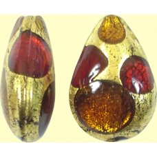 1 Murano Goldfoil Extravagant Light Dark Ruby and Topaz Small Pear Drop