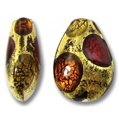 1 Murano Glass Goldfoil Extravagant Light Dark Ruby and Topaz Small Pear Drop