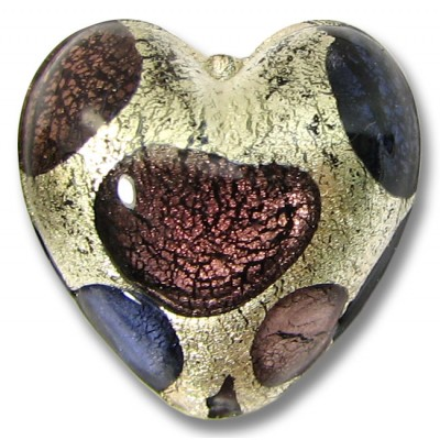 1 Murano Glass Goldfoil Extravagant Amethyst and Purple Velvet 20mm Heart Bead