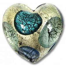 1 Murano Glass Goldfoil Extravagant  Aqua Sapphire BD 20mm Heart Bead
