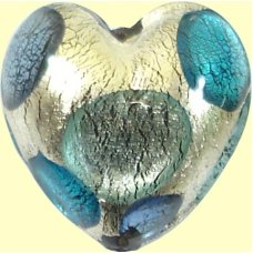 1 Murano White Goldfoil Extravagant Dark Aqua Sapphire and Black Diamond 20mm Heart Bead