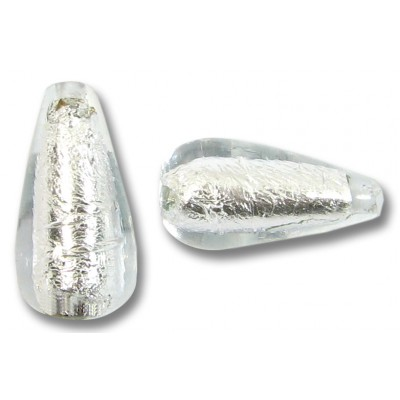 1 Murano Glass Crystal Silverfoil Drop Bead