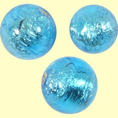 1 Murano Glass Mid Aquamarine Silver Foiled 12mm Round Bead