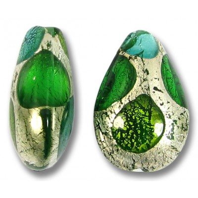 1 Murano Glass White Goldfoil Extravagant Greens Small Pear Drop